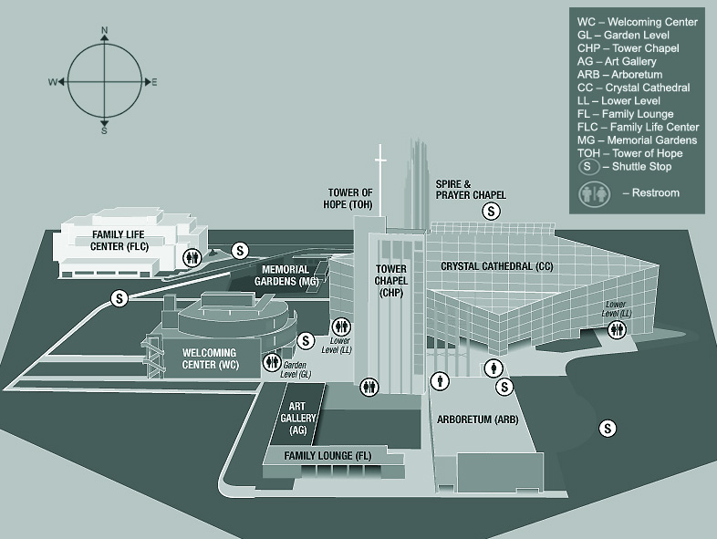 CRYSTAL CATHEDRAL Ministries : Visitors : Campus Map